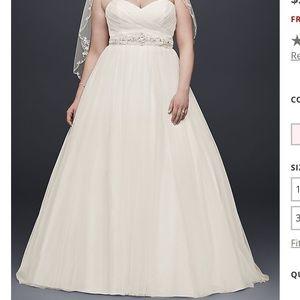 David's Bridal Ivory Tulle Wedding Dress